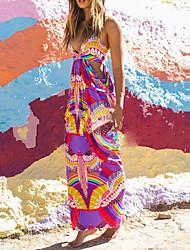 Women's Sexy / Beach Print A Line Dress , Strap Maxi Rayon