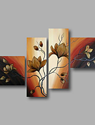 "Ready to Hang Stretched Hand-painted Oil Painting 64""x44"" Canvas Wall Art Modern Dark Magnolia Flowers Brown"