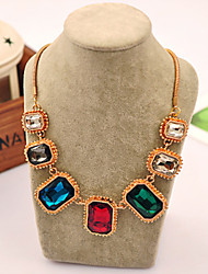 Women's Fashion Exaggerated Style Alloy Inserts Large Color Gemstone Necklace