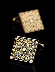 Fashion Copper Men Gift Jewelry Silver Gold Plated Square Shirt Button Cufflinks(1Pair)