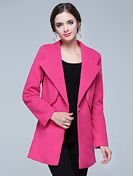 Vbo     Women's Solid Color Red Coats & Jackets , Sexy / Casual / Party / Work V-Neck Long Sleeve