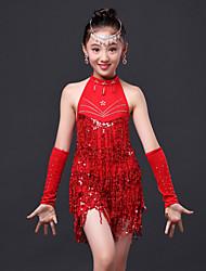 Wir werden Latin Tanzkleid / Kinder Performance Mode Polyester Strass / Quaste Kleid 3 Stück