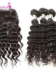 4pcs muito cabelo virgem onda profunda brasileira com fecho de 3 feixes não transformados remy trama cabelo humano com fecho de rendas