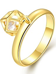 Creative Personality  Women's  Geometry White Zircon Gold-Plated Brass Statement Rings(Golden,Rose Gold,)(1Pcs)