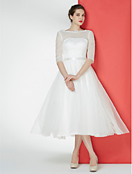 A-line Wedding Dress Tea-length Bateau Lace / Tulle with Lace
