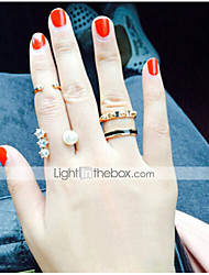 MISSING U Alloy / Imitation Pearl / Rhinestone Ring Statement Rings Casual 1set