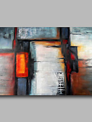 Ready to hang Stretched Hand-Painted Oil Painting on Canvas Wall Art Abstract Contempory Black Grey One Panel