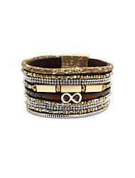 Dame Vintage Armbånd Læder Armbånd Unikt design Mode luksus smykker Læder Akryl Rhinsten Stof Imitation Diamond Legering Smykker Smykker