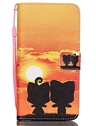HZBYC®Sunset Ccat Lovers Pattern PU Material Card Lanyard Case for Galaxy Note 5