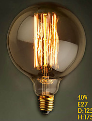 G125 Straight Wire 40W 110V-240V Lamp Bulb Edison Big Retro Decorative Light Bulbs