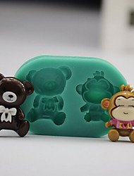 2 in 1 Bear Monkey DIY Silicone Chocolate Pudding Sugar Cake Mold