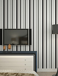 New Rainbow™Stripe Wallpaper Contemporary Wall Covering , Non-woven Paper Mediterranean Vertical Stripes Wallpaper