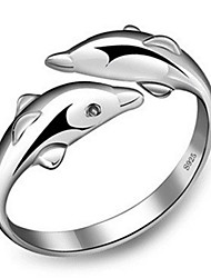S925 Fine Silver Dolphin Shape Adjustable Ring Fine Jewelry Love Fashion Ring Gift