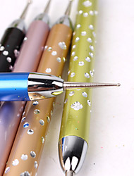 5Pcs Manicure Tools High-Grade Metal Rod Drill Point Pen Fancy Stitch Double Dotted Pen Point Hook Flower Pen