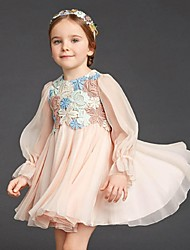 Ball Gown Short/Mini Flower Girl Dress - Chiffon Long Sleeve