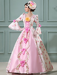 Steampunk®Pink Long Sleeves Satin Classic Victorian Dress Medium Cospaly Long Party Dresses