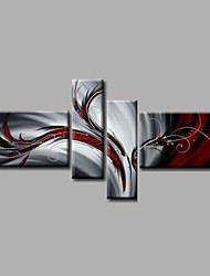 Ready to Hang Stretched Hand-Painted Oil Painting Four Panels Canvas Wall Art Modern Grey Red Abstract