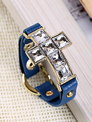 Square Cut Glass Cross Leather Band Bracelets