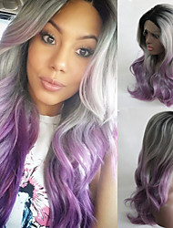 Black/Silver Grey/Purple Ombre Wig Synthetic Lace Front Wig Grey Body Wave Glueless Long Natural Gradient Wig Heat Resistant Hair Wigs New