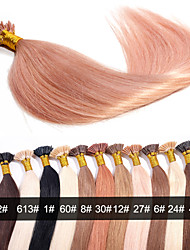 EVET Brazilian Human Hair I Tip Hair Extensions Unprocessed Virgin Hair 0.5G/Strand 100Strands/Lot