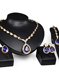 Women Wedding Bridal Bohemian Drop-shaped Blue Crystal Shell Pendant Necklace Earrings Ring Bracelet Four - piece