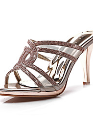 Women's Shoes Synthetic Stiletto Heel Heels / Peep Toe Sandals Party & Evening / Dress / Casual Silver / Gold