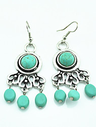 Vintage Look Antique Silver Plated Alloy Turquoise Stone Beads Drop Dangle Earring(1Pair)