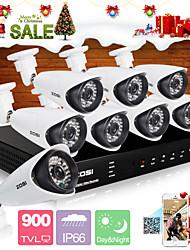zosi® 8 canaux H.264 DVR 960H HDMI 8 pcs 900tvl vision de nuit infrarouge 100ft système de caméra de sécurité CCTV étanche