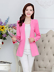 Women's Solid Blue / Pink / Red / White / Black / Yellow Blazer , Casual / Work Peaked Lapel Long Sleeve