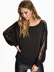 Women's Patchwork Lace Perspective Loose Casual Work T-shirt , Round Neck Batwing Long Sleeve