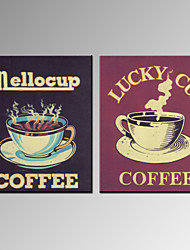 VISUAL STAR®Vintage Coffee Canvas Prints Lucky Cup Wall Art for Living Room Ready to Hang