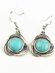 Vintage Look Antique Silver Plated Alloy Flower Turquoise Stone Dangle Earring(1Pair)