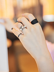 Black Flower Shape Pearl Adjustable Ring Set Midi Rings(Set of 3)