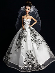Barbie Doll White / Black Wedding Organza / Lace Dresses Dresses
