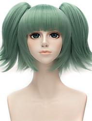 12inch Short Ansatsu Kyoushitsu Wig Kayano Kaede Green Synthetic Anime Cosplay Hair wig Two Ponytails wig QY-054