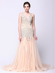 Fit & Flare V-neck Court Train Tulle Prom Formal Evening Dress with Beading by TS Couture®