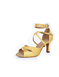 Women's Dance Shoes Latin / Salsa Leatherette Flared Heel Gold