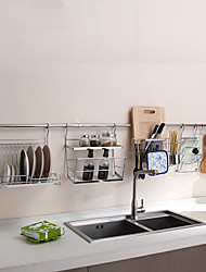 ChuYuWuXian Kitchen Utensil Organiser Hanger Tool Dish Rack Wall Mounted Chrome Finished Steel Rack T50