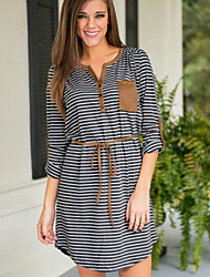 Women's Striped Gray Dress , Casual V Neck Long Sleeve