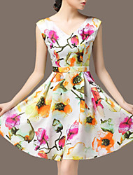 Women's Vintage / Party / Cocktail Floral A Line Dress , V Neck Above Knee Polyester