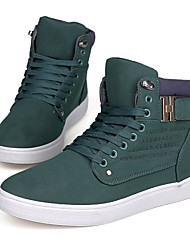 Men's Comfort Leatherette Spring Summer Fall Winter Casual Lace-up Flat Heel Black Yellow Green Under 1in