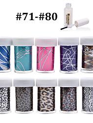 New 100Designs Nail Art Transfer Foil Paper 10pcs + 1pcs Nail Foil Glue (from #71 to #80)