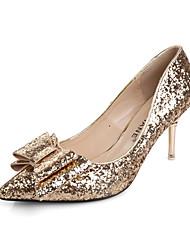 Women's Shoes Synthetic / Glitter Kitten Heel Heels / Pointed Toe Heels Dress Red / Silver / Gold