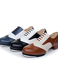 Non Customizable Women's / Men's Dance Shoes Tap Leather Low Heel Multi-color