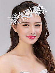 White Ribbon Flower Hair Forehead Jewelry Fascinators for Wedding Party Decoration