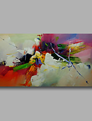 "Ready to hang Stretched Hand-Painted Oil Painting Canvas  40""x20"" Wall Art Abstract Green Orange Yellow Blue"