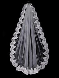 Wedding Veil One-tier Elbow Veils / Fingertip Veils Lace Applique Edge Tulle White / Beige
