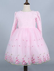 Girl's Pink / White Dress , Lace Polyester Spring / Fall