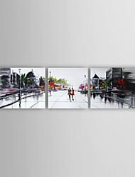 Ручная роспись Абстракция Горизонтальная Панорамный,Modern 3 панели Hang-роспись маслом For Украшение дома