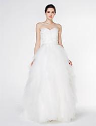 lanting mariée une ligne de train robe de mariée-cour dentelle bustier / tulle
